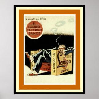 Lampo Kalypsosamos-Zigaretten-Anzeigen-Plakat Poster
