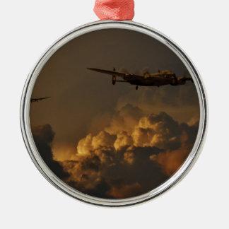 Lancaster-Bomber STURM Rundes Silberfarbenes Ornament
