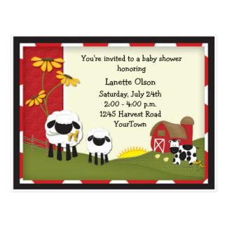 Land-Bauernhof-Babyparty-Postkarten-Einladung Postkarte