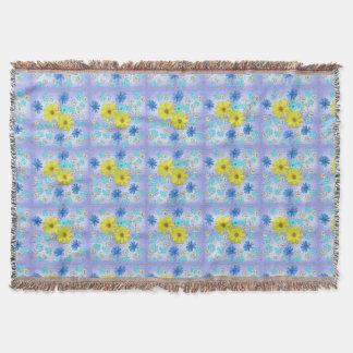 Land-Blumen-Blumenstrauß im Blau und im Gelb Decke