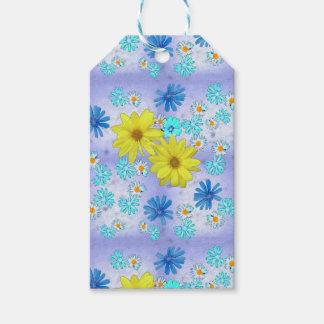 Land-Blumen-Blumenstrauß im Blau und im Gelb Geschenkanhänger