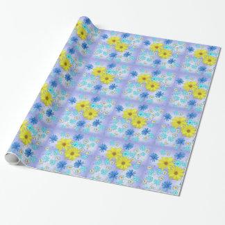 Land-Blumen-Blumenstrauß im Blau und im Gelb Geschenkpapier