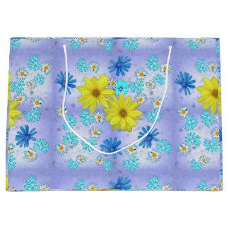Land-Blumen-Blumenstrauß im Blau und im Gelb Große Geschenktüte