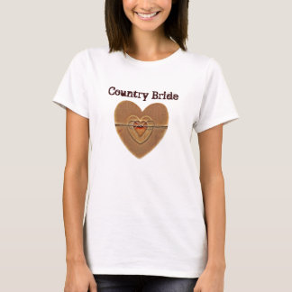 Land-Braut-rustikaler hölzerner Herz-Schnur-Bogen T-Shirt