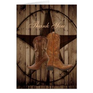 Land-Cowboystiefel-Western-Hochzeit danken Ihnen Karte