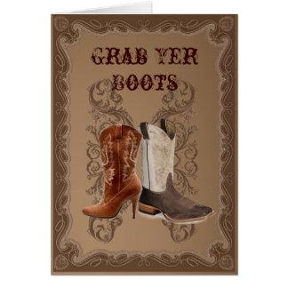 Land-Cowboystiefel-Western-Hochzeit Karte