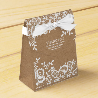 Land-danken rustikale Spitze-Hochzeit Ihnen Geschenkschachtel