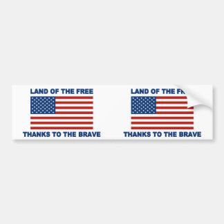 Land der freien dank das tapfere autoaufkleber