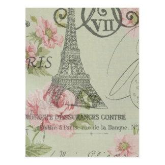 Land-Eiffel-mit Blumenturm des Shabby Chic Postkarte