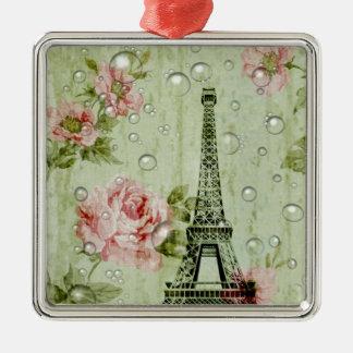 Land-Eiffel-mit Blumenturm des Shabby Chic Quadratisches Silberfarbenes Ornament
