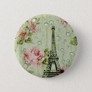 Land-Eiffel-mit Blumenturm des Shabby Chic Runder Button 5,7 Cm