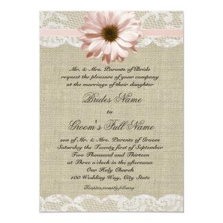 Land erröten Gänseblümchen-und Spitze-rustikale 12,7 X 17,8 Cm Einladungskarte