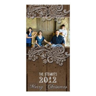 Land-Foto-Weihnachtskarte Browns hölzerne silberne Foto Karten