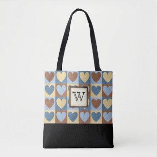 Land-Herzen mit Monogramm Tasche