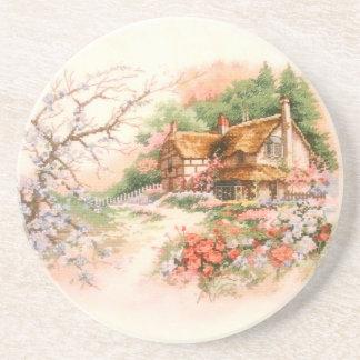 Land-Hütte mit Blumen Getränkeuntersetzer