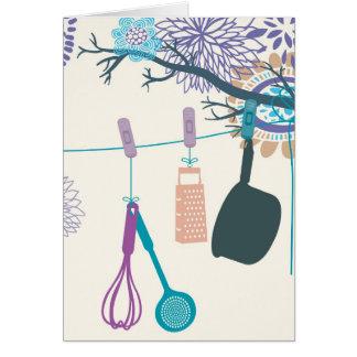 Land-Küchen-Topfgestelle auf Blumen Grußkarten