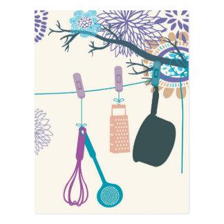 Land-Küchen-Topfgestelle auf Blumen Postkarten