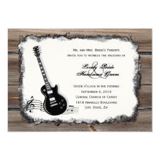 Land-laden hölzerne E-Gitarren-Musik-Hochzeit ein Karte