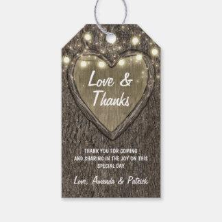 Land-Licht-danken rustikale Eichen-Hochzeit Ihnen Geschenkanhänger