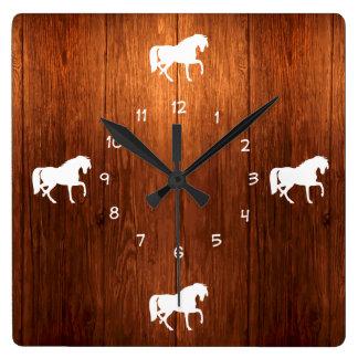 Land-pferdeartiges Thema Quadratische Wanduhr