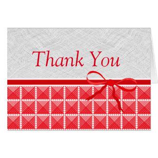 Land-roter Gingham wie Hochzeit danken Ihnen Karte