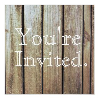 Land-rustikale hölzerne Hochzeits-Einladung Quadratische 13,3 Cm Einladungskarte