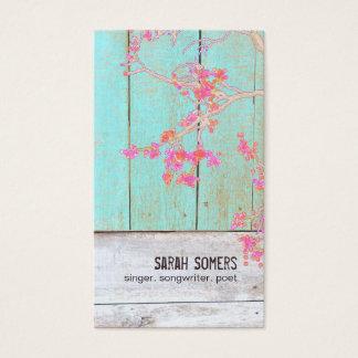 Land-rustikales BlumenTürkis-Holz Visitenkarte