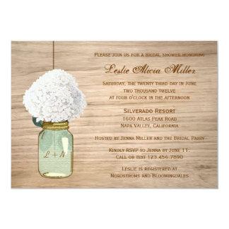 Land-rustikales Maurer-Glashydrangea-Brautparty 12,7 X 17,8 Cm Einladungskarte