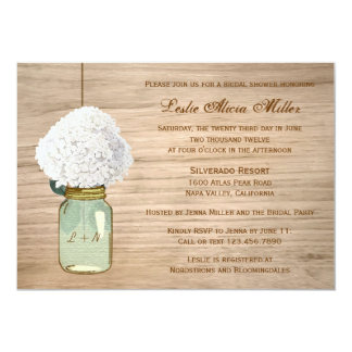 Land-rustikales Maurer-Glashydrangea-Brautparty Individuelle Ankündigungskarte