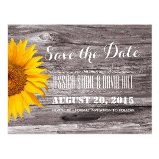 Land-rustikales Sonnenblume-Holz Save the Date Postkarte