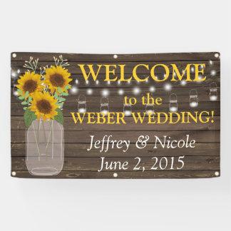 Land-Sonnenblume-kundenspezifische Hochzeits-Fahne Banner