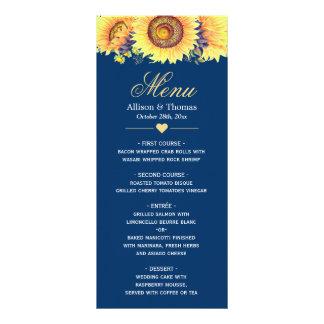 Land-Sonnenblume-Marine-Blau-Hochzeits-Menü Werbekarte