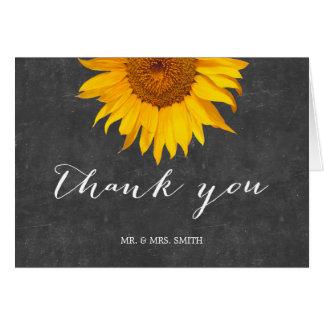 Land-Sonnenblume-Tafel-Hochzeit danken Ihnen Karte