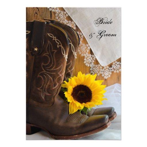 Land-Sonnenblume-und Spitze-Hochzeits-Einladung