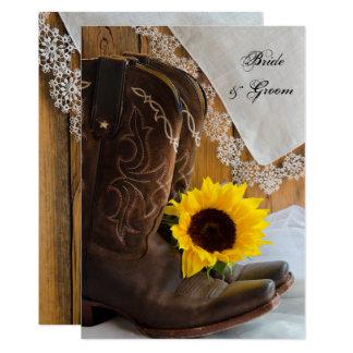 Land-Sonnenblume und Spitze-Western-Hochzeit laden 12,7 X 17,8 Cm Einladungskarte