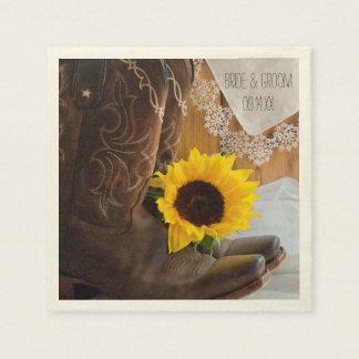 Land-Sonnenblume und Spitze-Western-Hochzeit Papierserviette