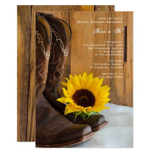 Land Sonnenblume Western Brautparty Einladung 12,7 X 17,8