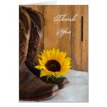 Land-Sonnenblume-Western danken Ihnen Mitteilungskarte