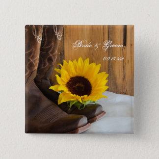 Land-Sonnenblume-Western-Hochzeit Quadratischer Button 5,1 Cm