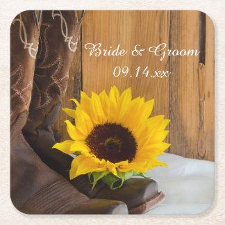 Land-Sonnenblume-Western-Hochzeit Rechteckiger Pappuntersetzer