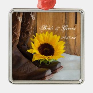 Land-Sonnenblume-Western-Hochzeit Silbernes Ornament