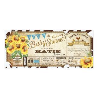 Land-Sonnenblumen und Kuh-Druck-Babyparty 10,2 X 23,5 Cm Einladungskarte