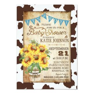 Land-Sonnenblumen und Kuh-Druck-Babyparty 12,7 X 17,8 Cm Einladungskarte
