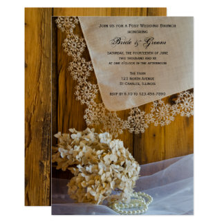 Land-Spitze-Blumen-Posten-HochzeitBrunch laden ein Karte