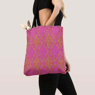 Land-Straße-Gewebe-Blumen--Rosa-TASCHEN Tasche