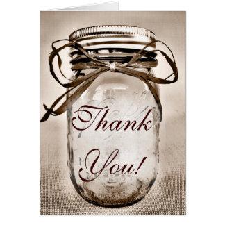 Land-Weckglas-Hochzeit danken Ihnen Karten
