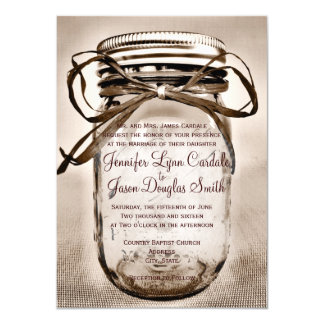Land-Weckglas-rustikale Hochzeits-Einladungen Karte