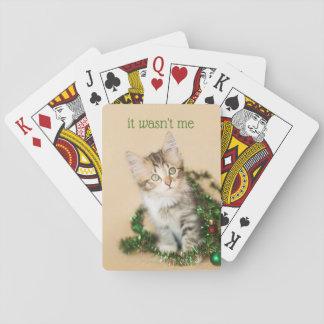 Land-Weihnachten verwirrt herauf Kätzchen Spielkarten