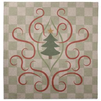 Land-Weihnachtsbaum und roter Wirbel Stoffserviette