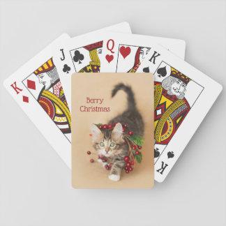 Land-Weihnachtsbeeren-Kätzchen Spielkarten